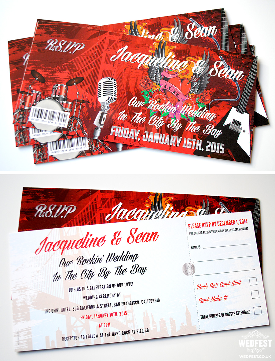 San Francisco Rock n Roll wedding invites