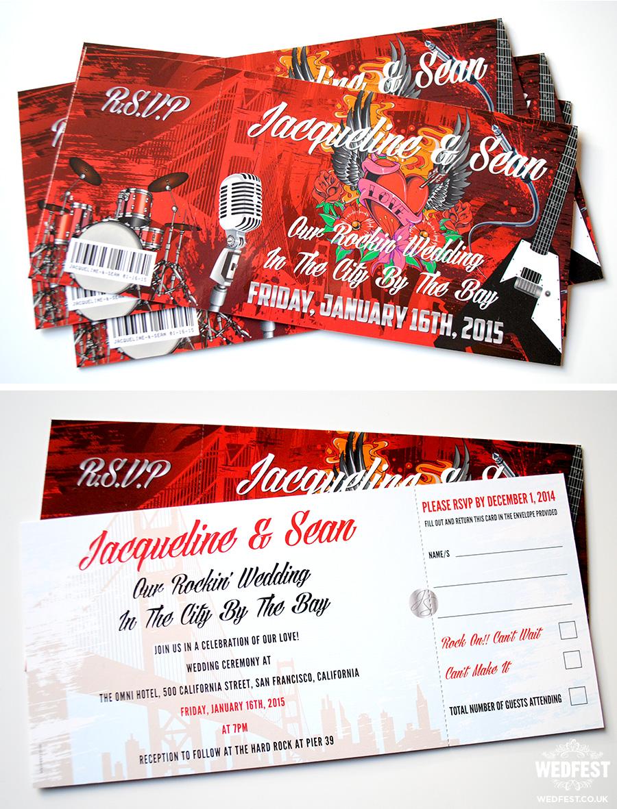 Rock n Roll San Francisco themed Wedding Invites | WEDFEST