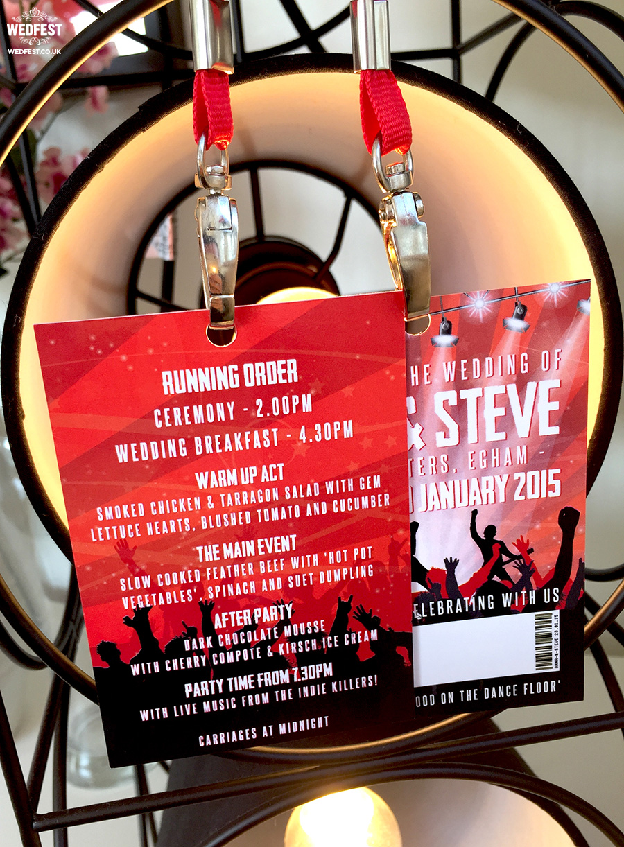music gig vip pass lanyard wedding menu