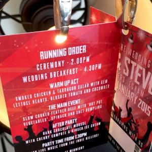 concert themed wedding menu