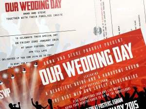 concert ticket wedding invites