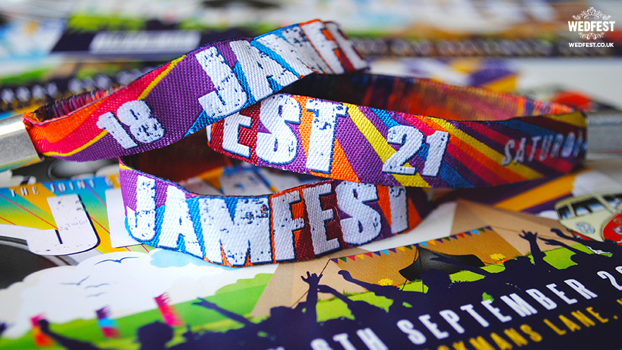 festival birthday party personalised fabric wristbands