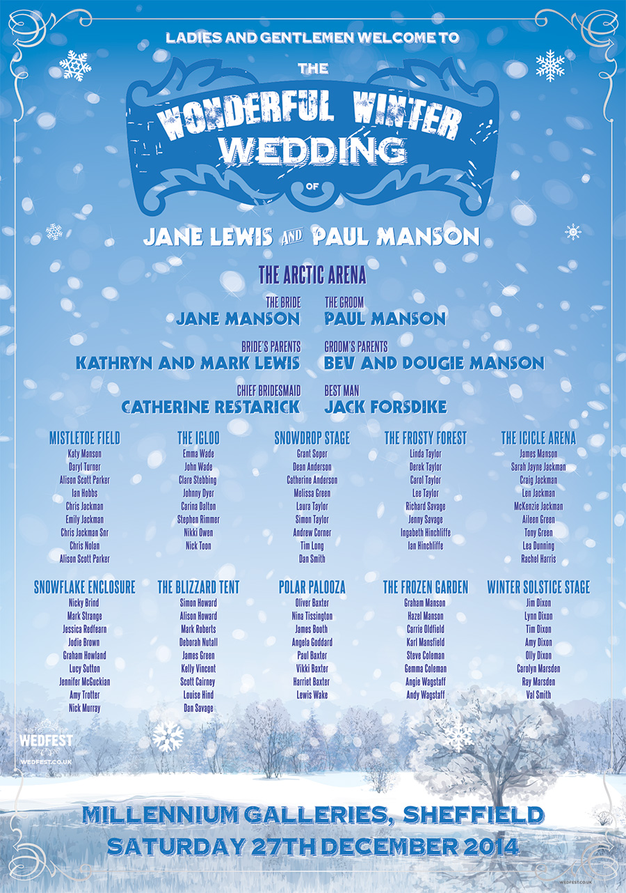 winter themed wedding table plan