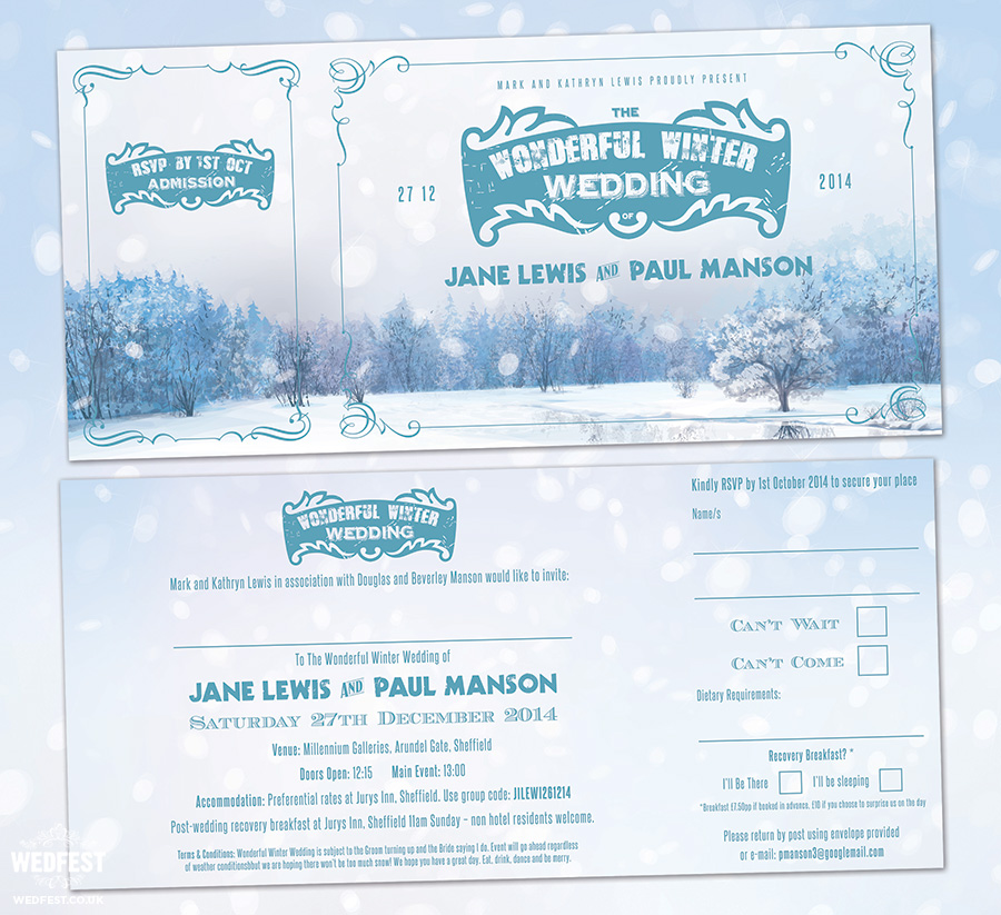 wonderful winter wedding invites