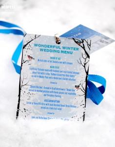 wonderful winter wedding menu lanyards