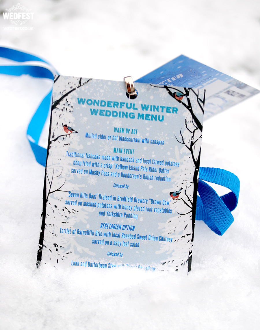 wonderful winter wedding menu lanyards