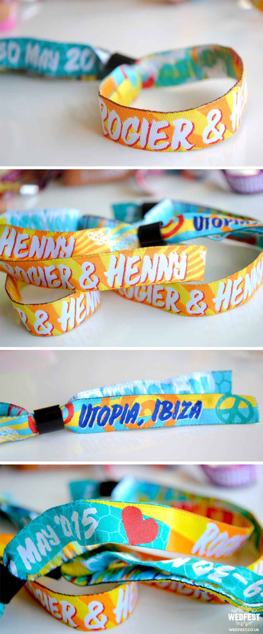 Ibiza Wedding Fabric Wristbands