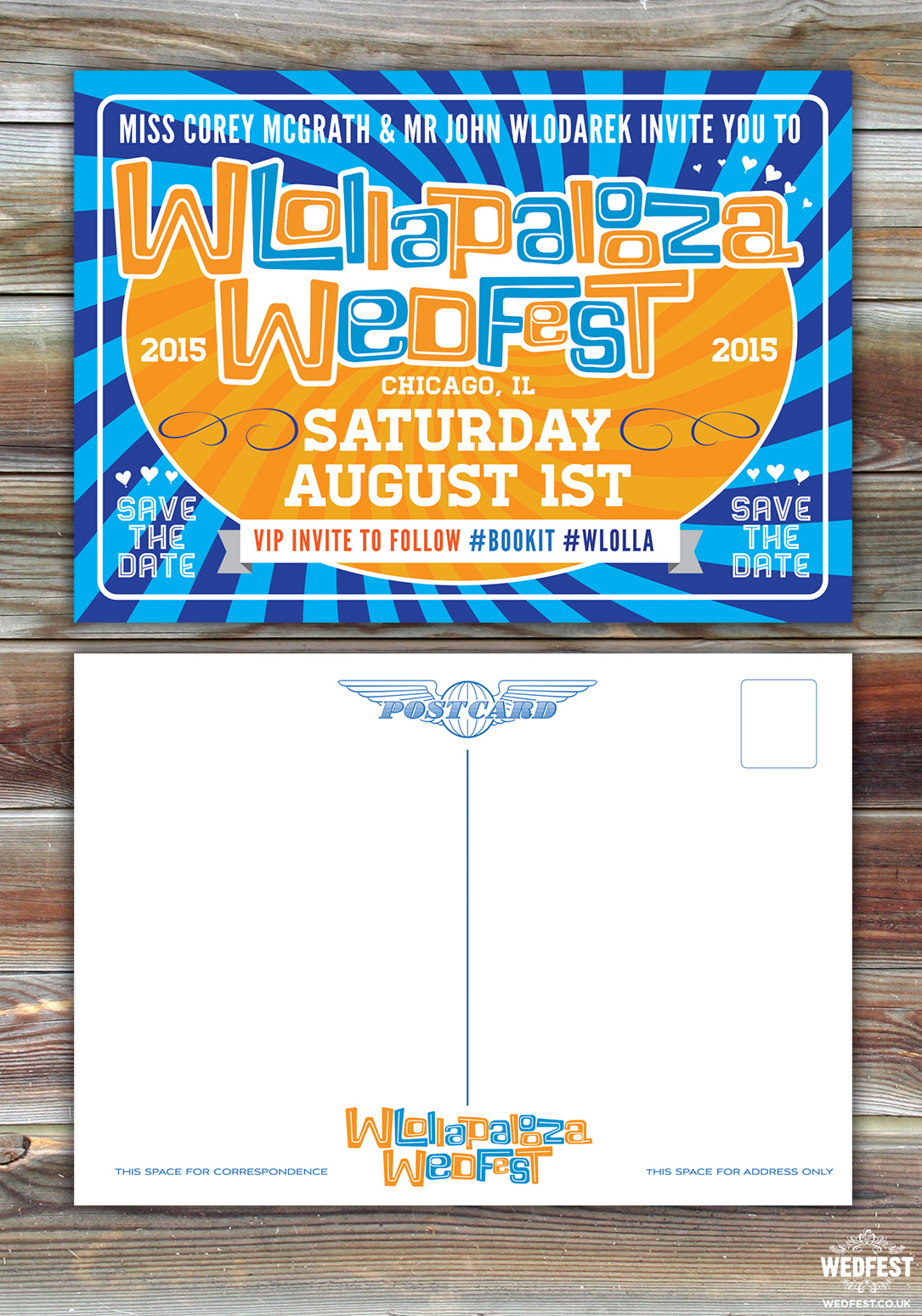 American Music Festival themed wedding save the date cards