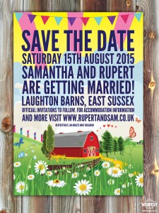Barn Wedding Festival save the date cards