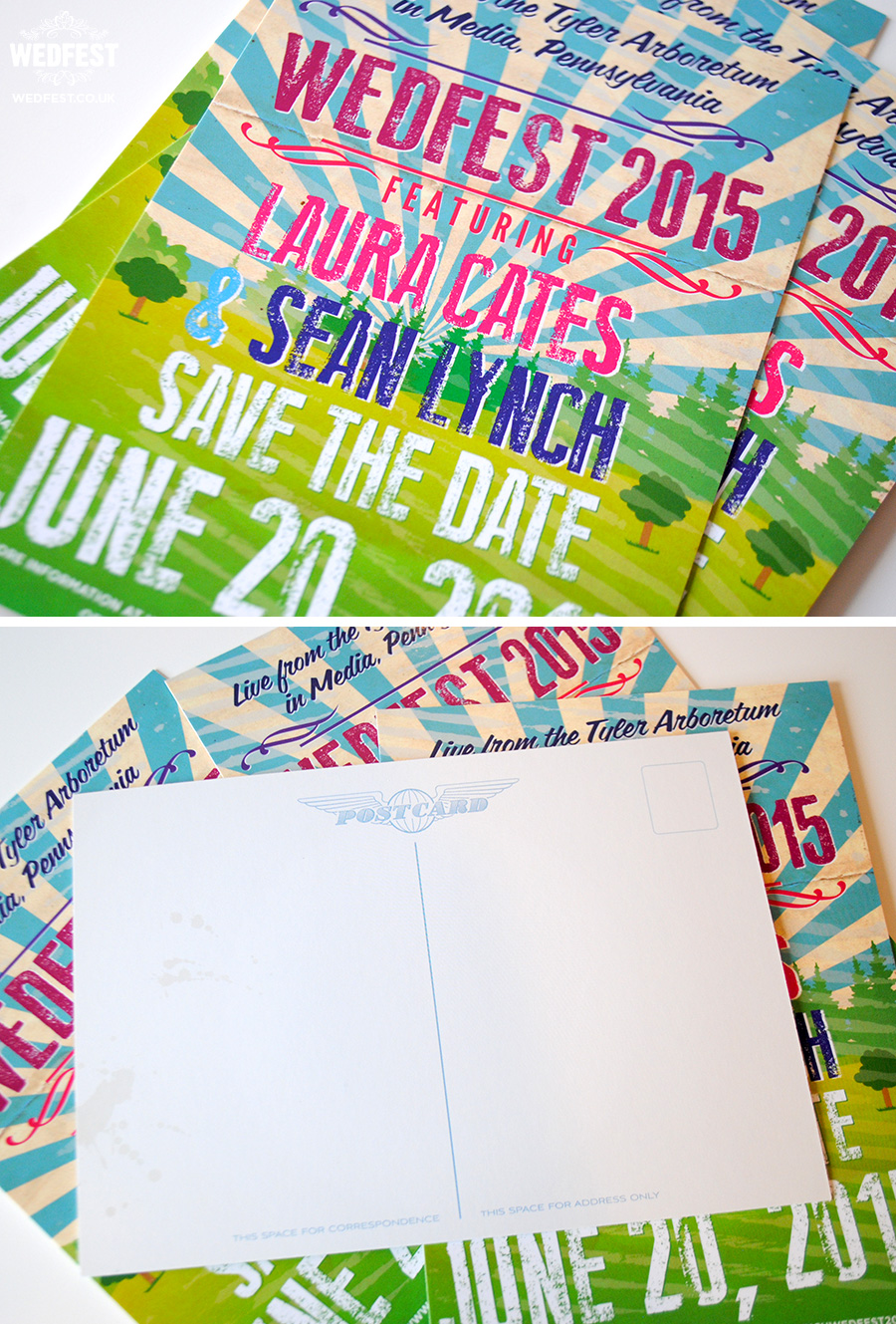 Boho / Fete Wedding Save the Date Postcards