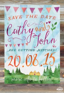 watercolour wedding save the date cards