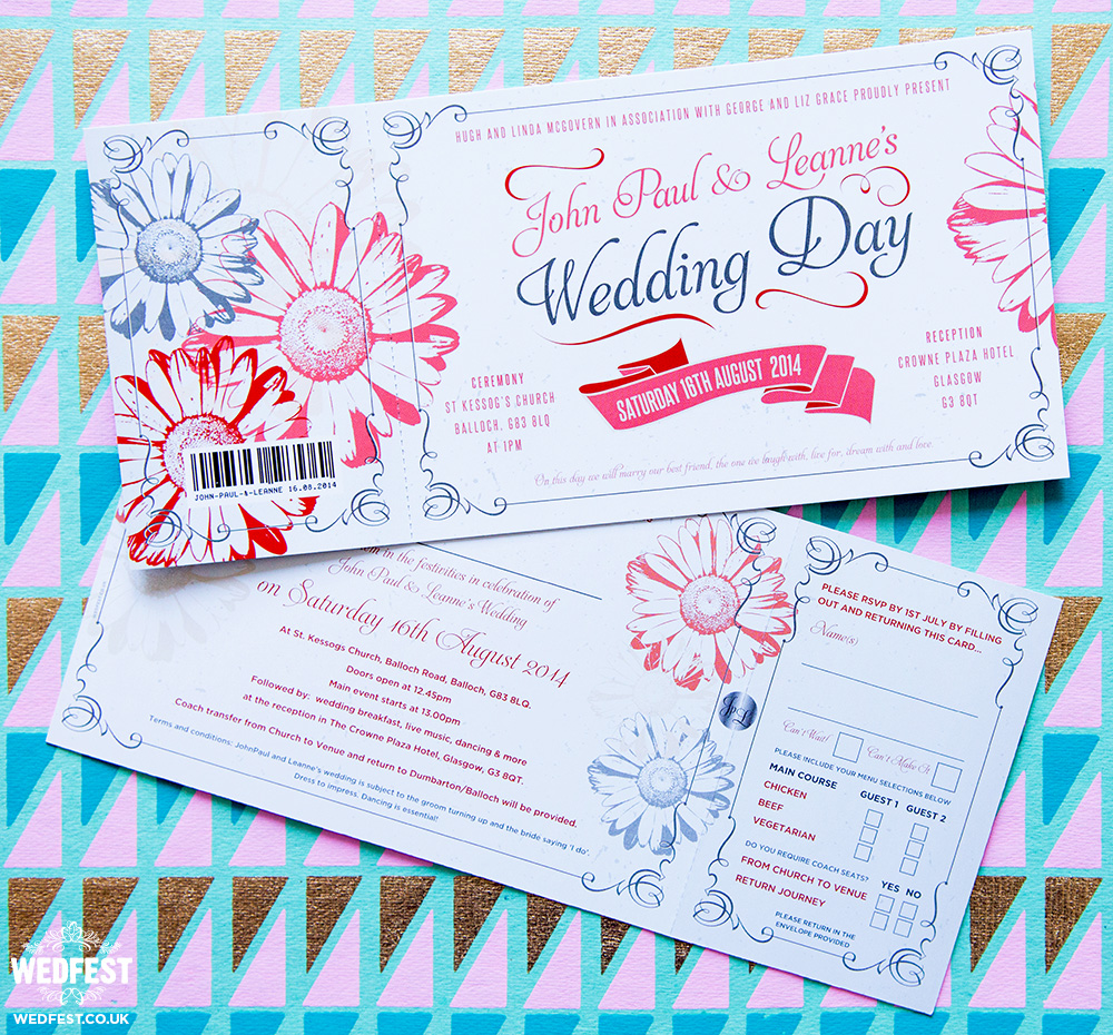 Gerbera Daisy Themed Wedding Invites