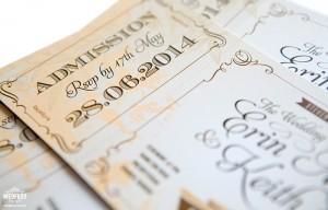 Vintage Ticket Style Wedding Invitations