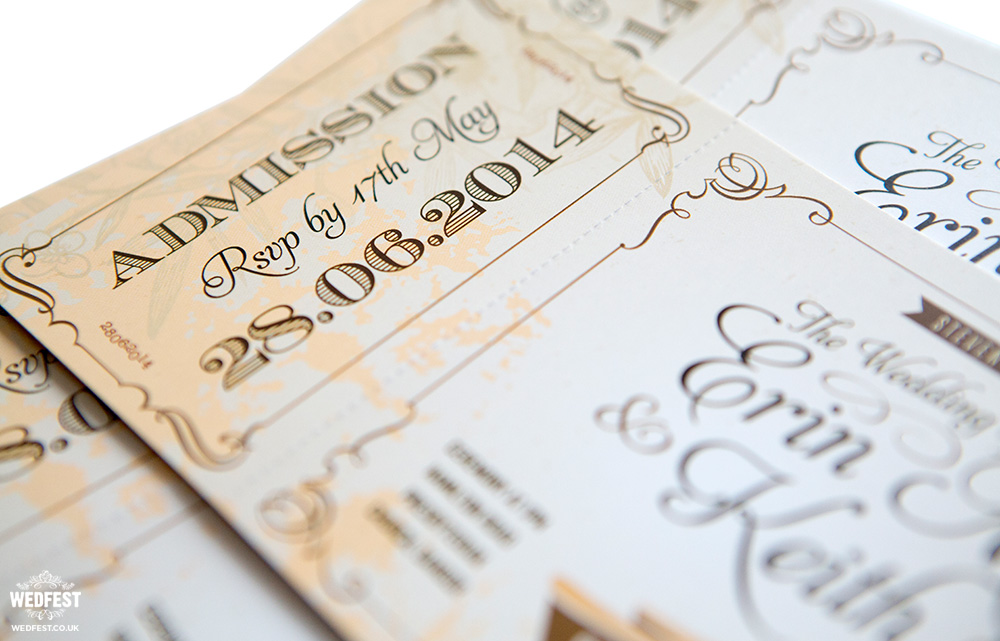 Vintage Ticket Style Wedding Invitations