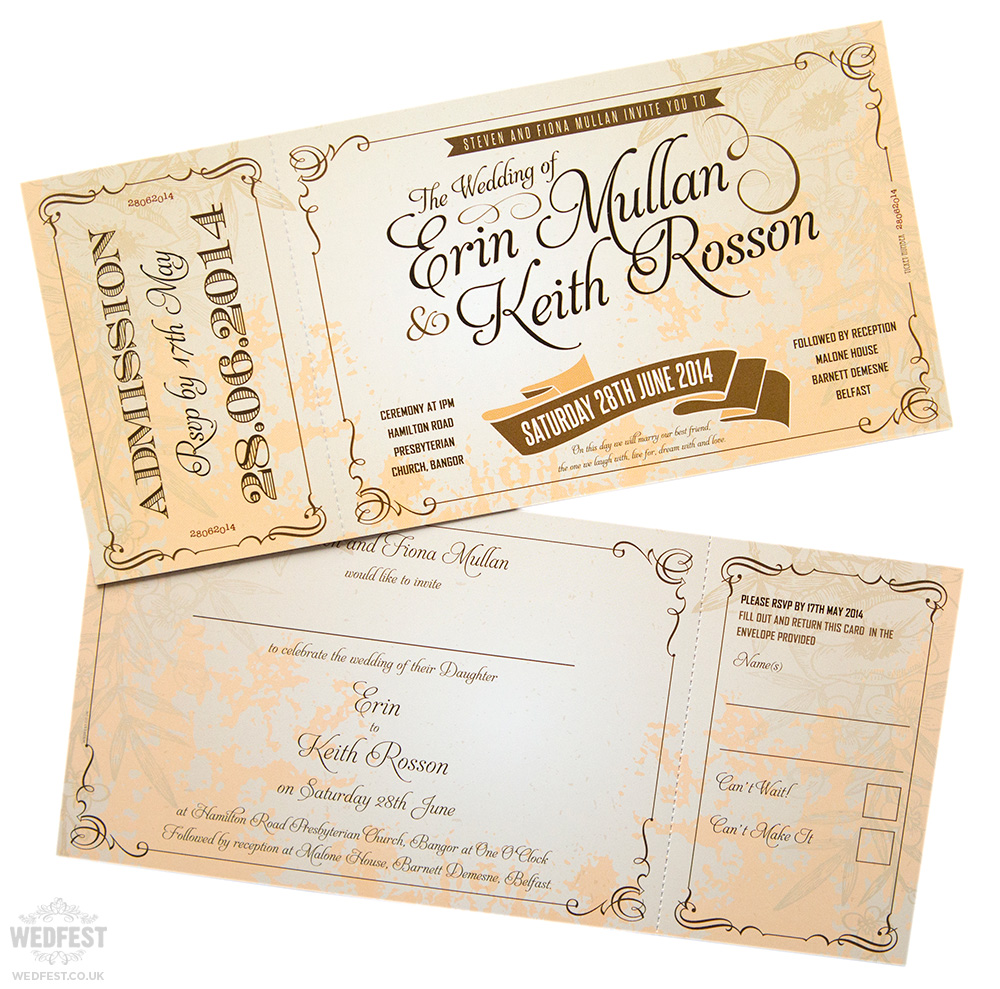 Vintage Ticket Style Wedding Invites