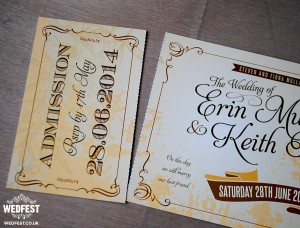 antique ticket wedding invitation