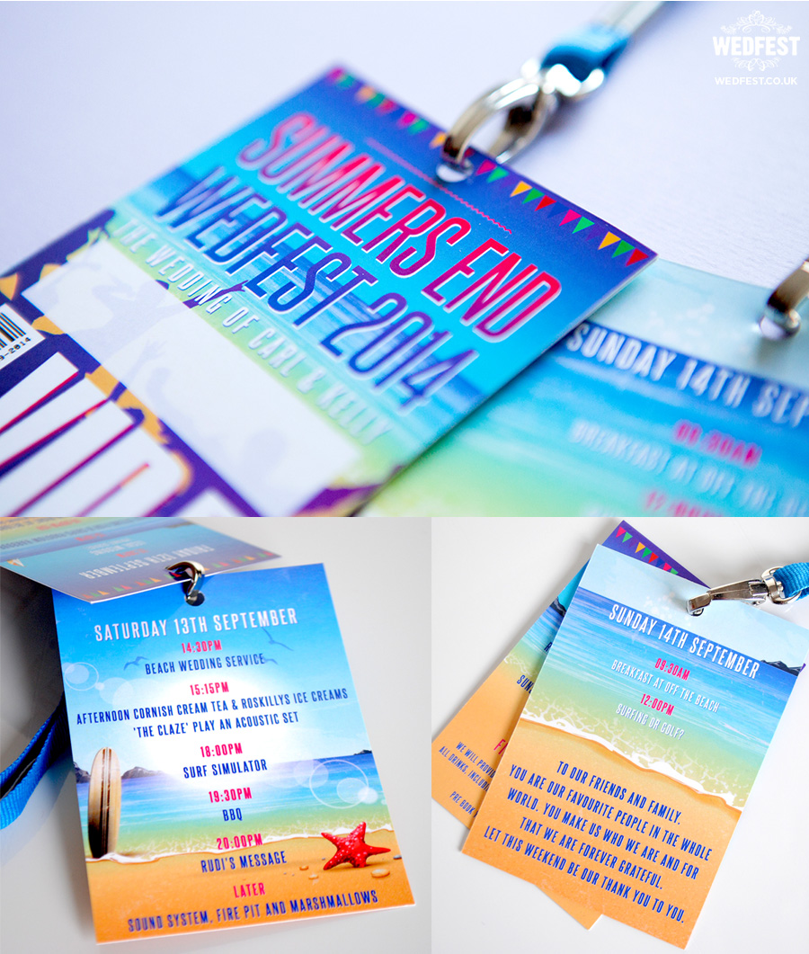 beach wedding vip lanyard programmes