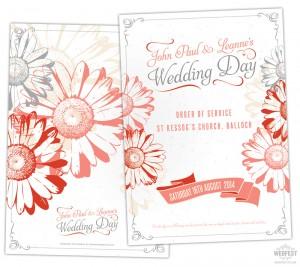 gerbera daisy wedding stationery order of service