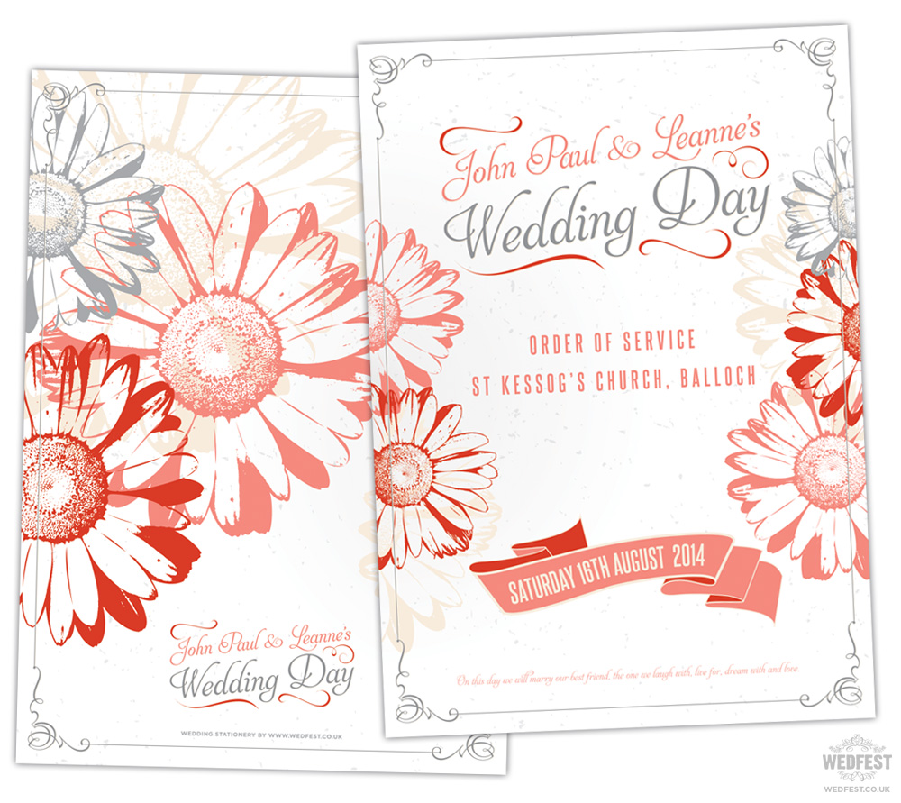 gerbera daisy wedding stationery order of service