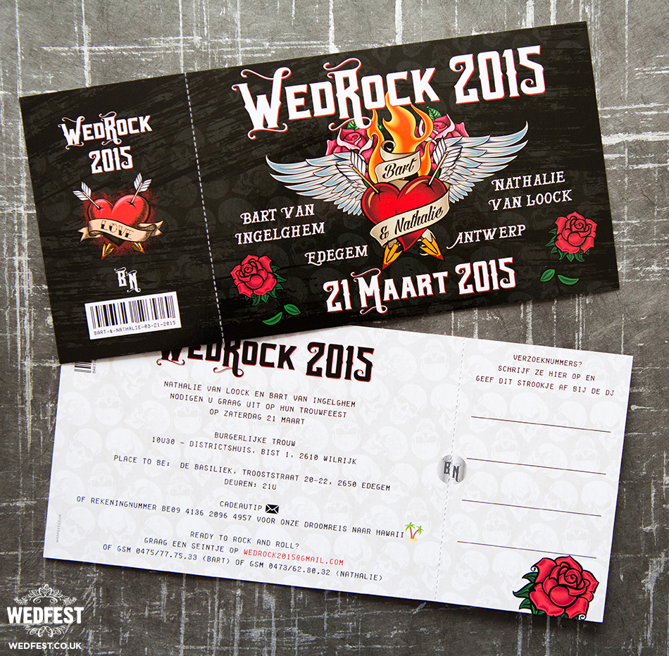 Rock N Roll Type Wedding Invitation