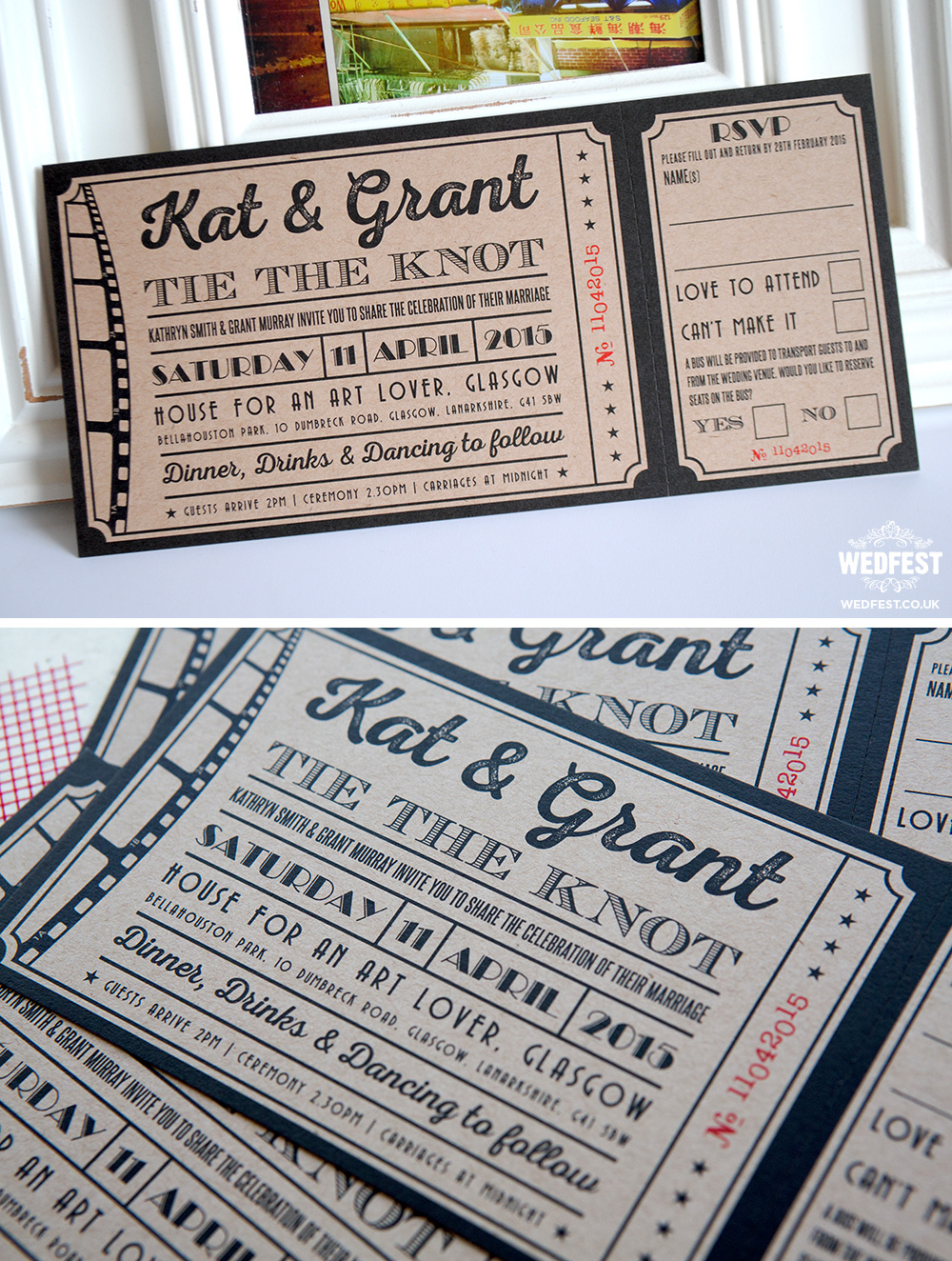 brown kraft card cinema wedding invites