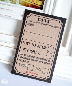 movie ticket stub wedding rsvp card
