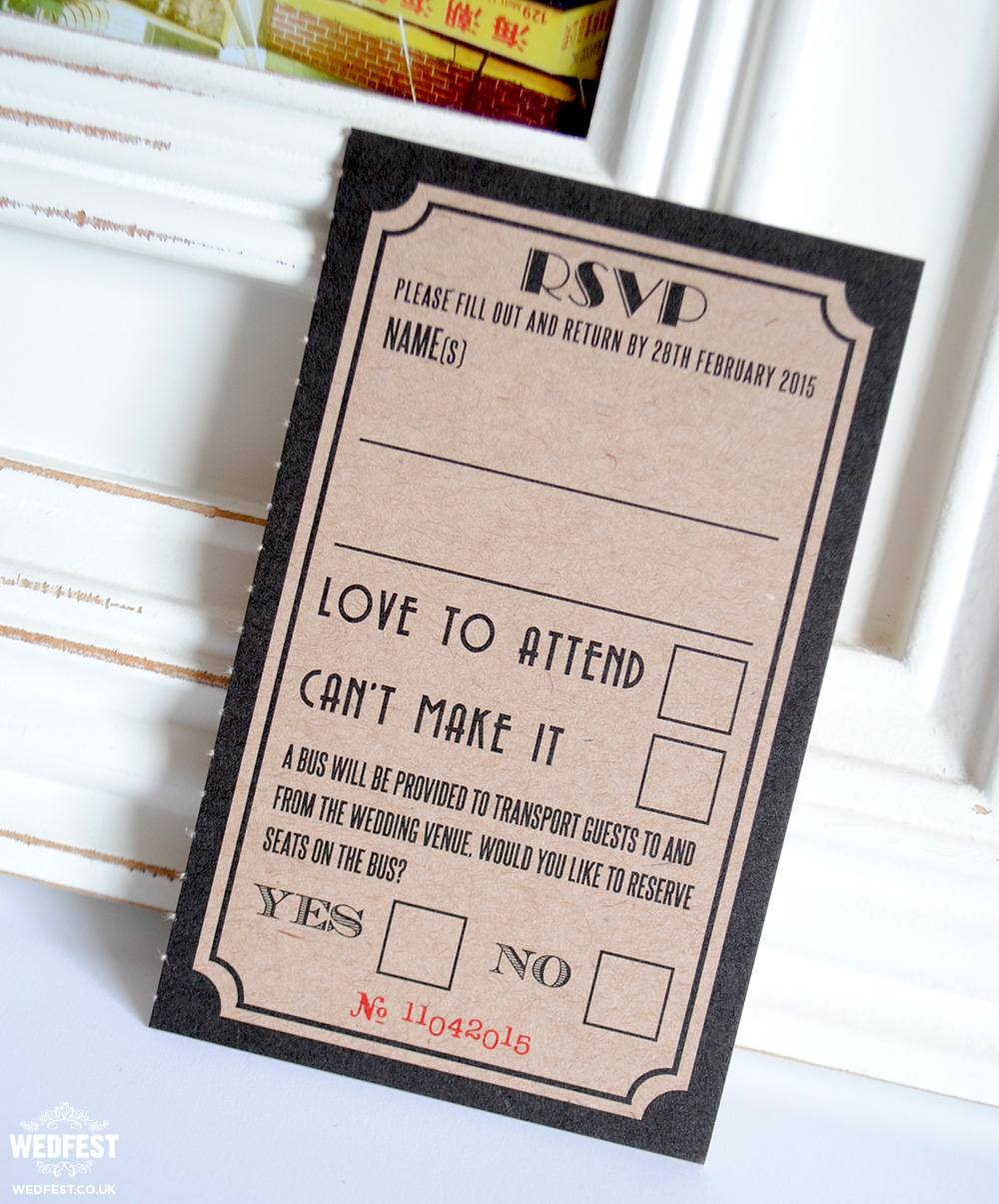 movie ticket stub wedding rsvp card