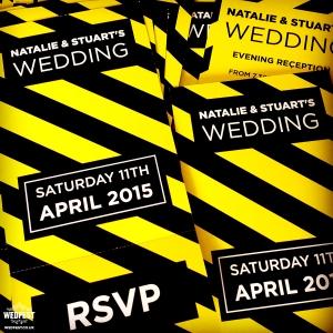 the hacienda manchester themed wedding invites