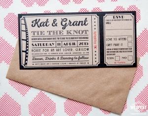vintage cinema ticket wedding invites