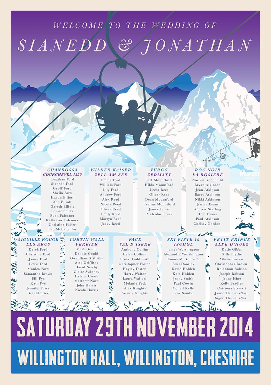 Ski Themed Wedding Seating Plan