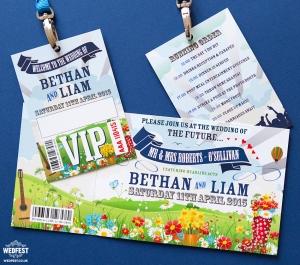 bohemian festival wedding stationery