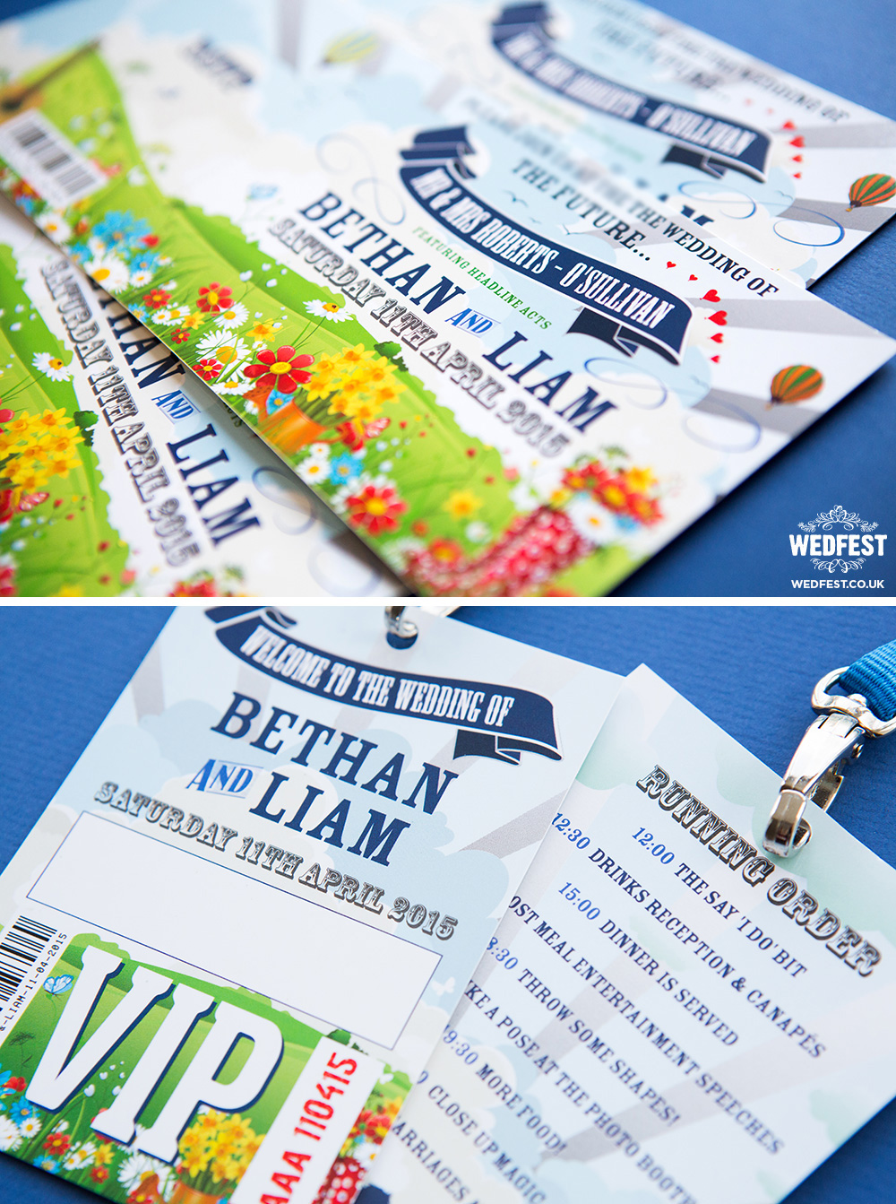 spring wedding invites and vip lanyards