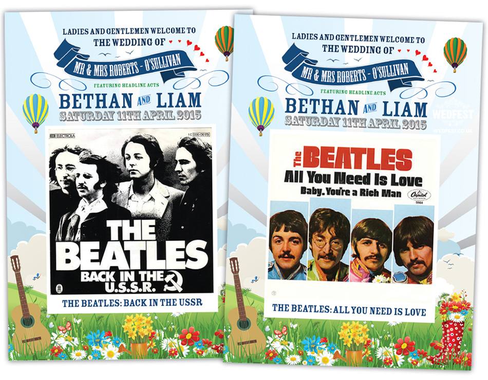 The Beatles wedding stationery