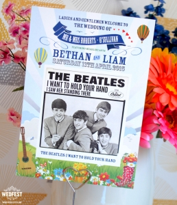 The Beatles wedding table centre cards