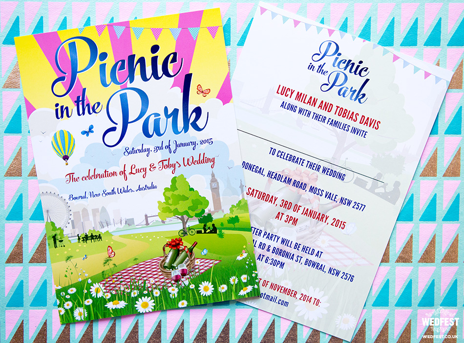 picnic themed wedding invitation