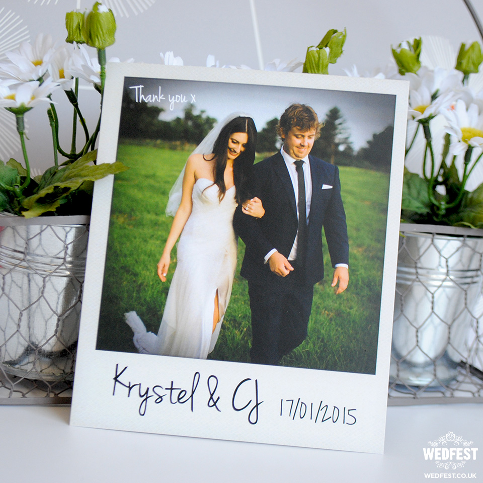 vintage polaroid wedding thank you card