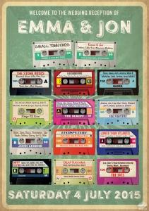cassette tape retro wedding table plan