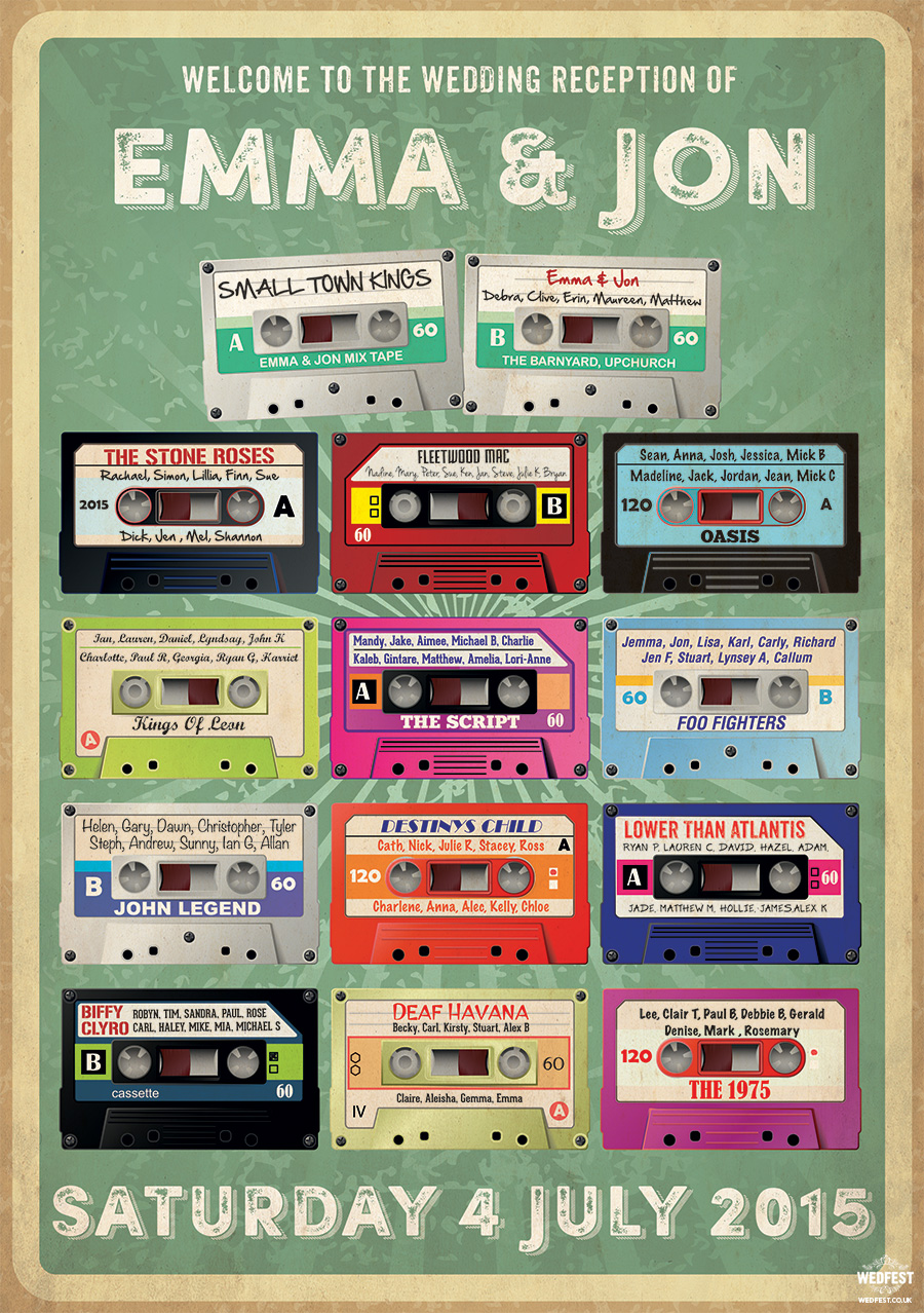 cassette tape retro wedding table plan