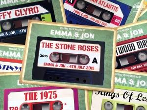 cassette themed wedding stationery