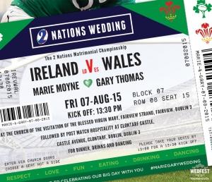Ireland v Wales Rugby Ticket Wedding Invites