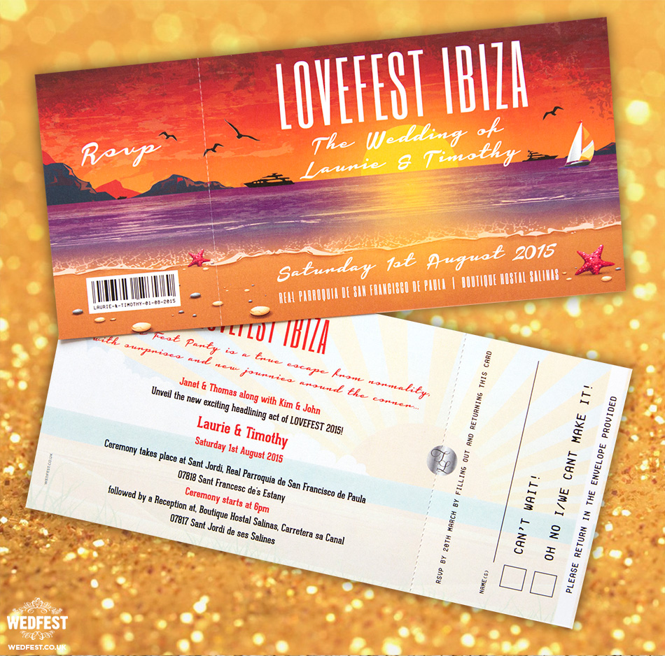 Lovefest Ibiza Wedding Invitations