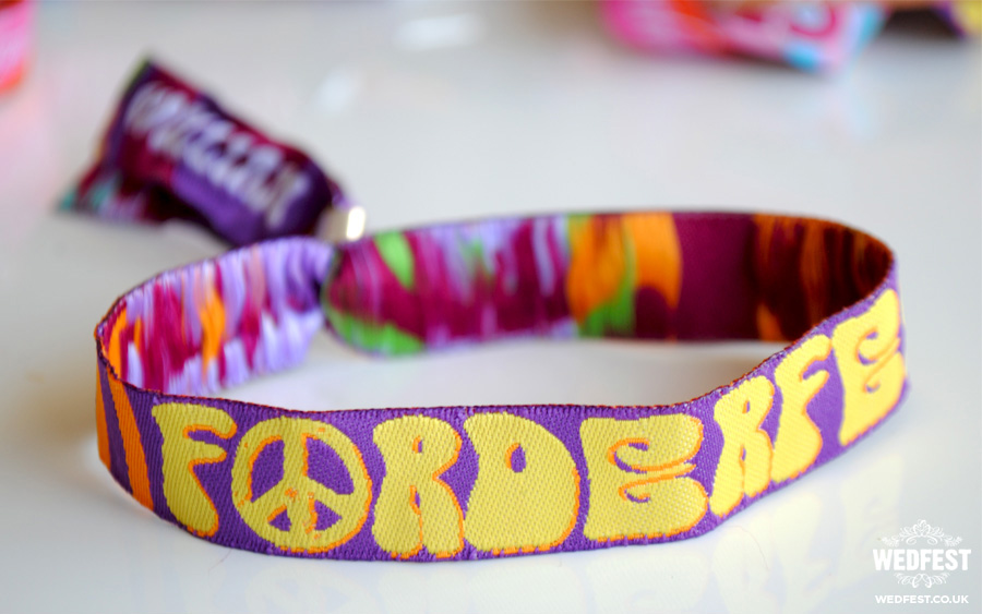psychedelic wristband wedding favours