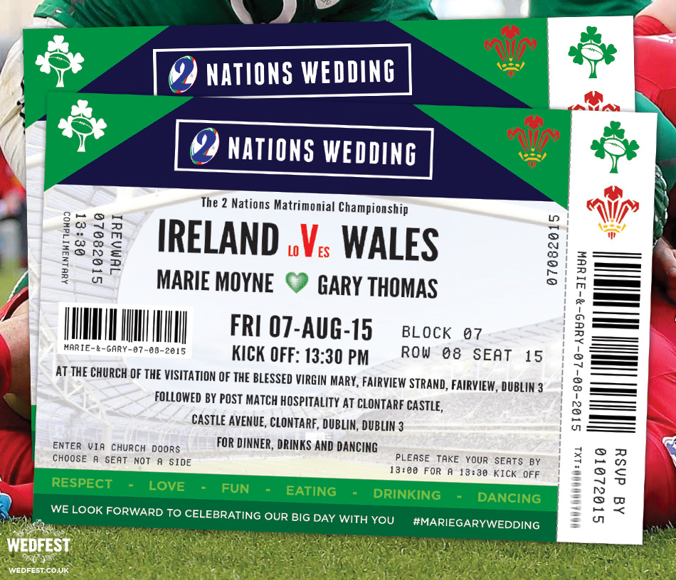 Rugby Ticket Wedding Invitations Wedfest