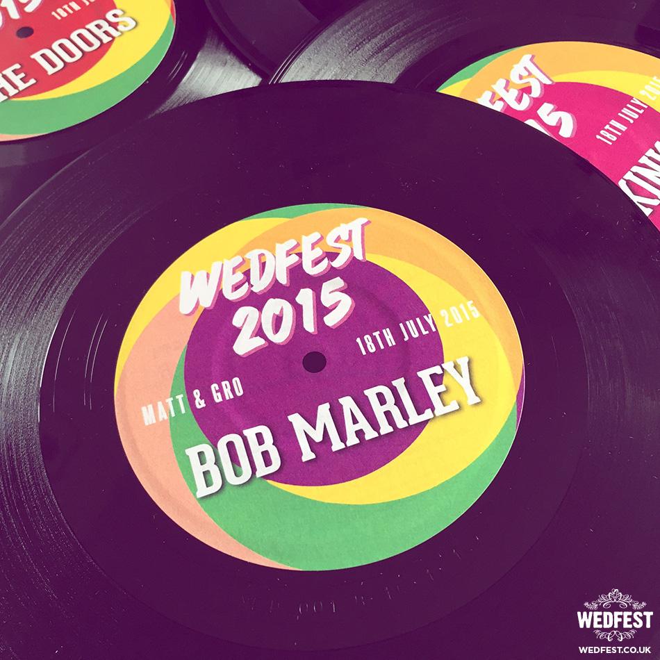 vinyl record music themed wedding table name