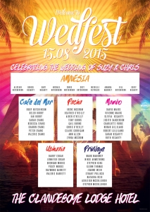 Ibiza Wedfest themed wedding seating plan
