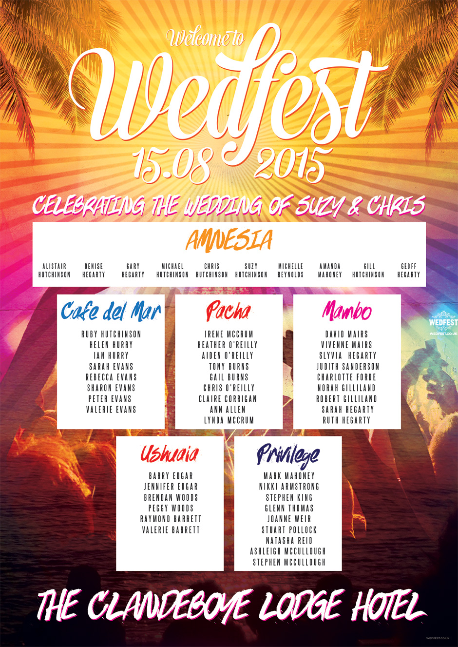 Ibiza Wedfest themed wedding seating plan