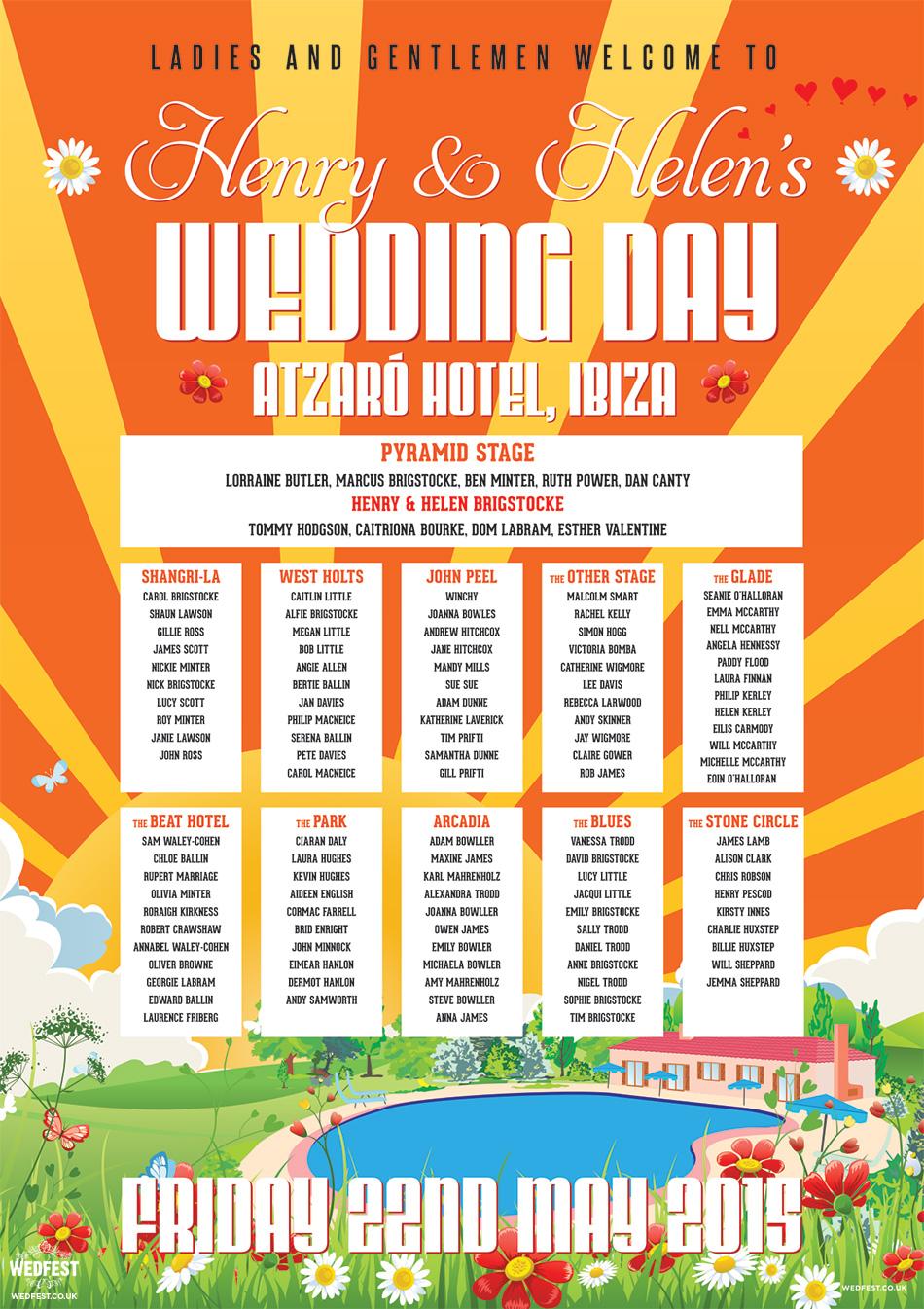 Atzaró Hotel Ibiza Wedding Table Seating Plan