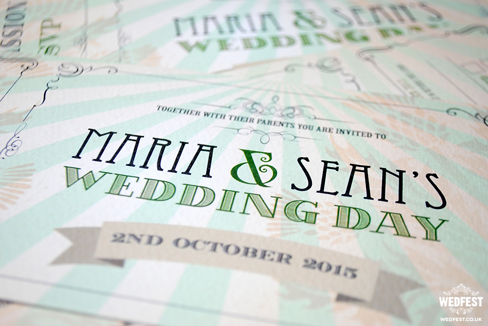 green vintage chic wedding invites