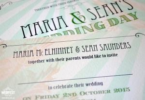 mint green chic wedding invitations