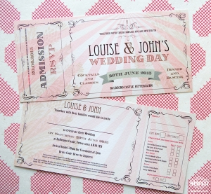 pink vintage chic ticket wedding invitations